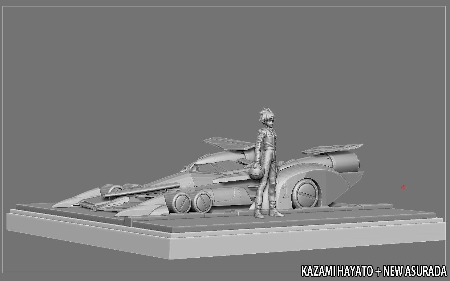 13.jpg Télécharger fichier STL KAZAMI HAYATO ASURADA CYBER FORMULE STATUE DIORAMA COURSE ANIME PERSONNAGE VOITURE DE COURSE • Plan à imprimer en 3D, figuremasteracademy