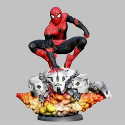 Download STL file SPIDERMAN FARFROMHOME DRONE BATTLE STATUE FOR 3D PRINT 3D print model, figuremasteracademy