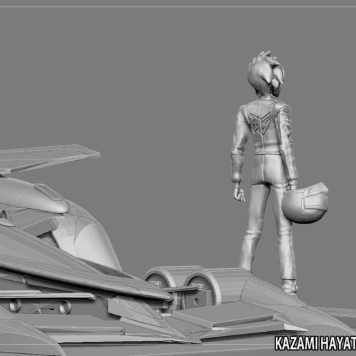 12.jpg Télécharger fichier STL KAZAMI HAYATO ASURADA CYBER FORMULE STATUE DIORAMA COURSE ANIME PERSONNAGE VOITURE DE COURSE • Plan à imprimer en 3D, figuremasteracademy