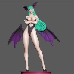 1.jpg Download STL file MORRIGAN SEXY STATUE PRETTY GIRL CAPCOM CHARACTER ANIME 3D PRINT • 3D print template, figuremasteracademy