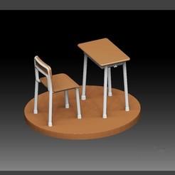 0.jpg Télécharger fichier OBJ CHAISE DE BUREAU POUR SALLE DE CLASSE D'ÉCOLE ENSEMBLE POUR DIORAMA D'ÉTUDIANT ANIME • Design à imprimer en 3D, figuremasteracademy