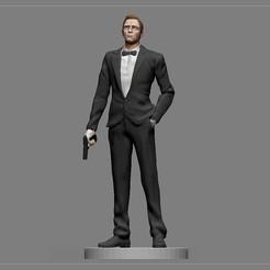 0.jpg Descargar archivo OBJ JAMES BOND DANIEL CRAIG TRAJE DE PELÍCULA ASESINO ESTATUA IMPRIMIBLE • Objeto imprimible en 3D, figuremasteracademy