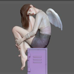 1.jpg Download STL file STUDENT GIRL ANGEL FEMALE PRETTY STATUE • 3D printer object, figuremasteracademy
