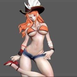 6.jpg Download STL file NAMI SEXY STATUE ONE PIECE ANIME SEXY GIRL CHARACTER 3D print model • Object to 3D print, figuremasteracademy