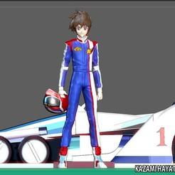 1.jpg Download STL file KAZAMI HAYATO ASURADA CYBER FORMULA STATUE DIORAMA RACE ANIME CHARACTER RACE CAR • 3D print design, figuremasteracademy