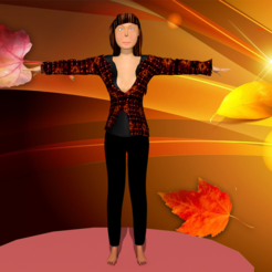 1.png Download STL file woman in colorful jacket • 3D printable template, NadavRock