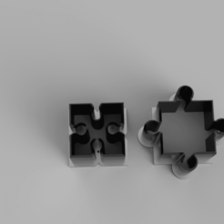 two puzzle pieces.png Download STL file Cookie Cutter - 2 puzzle pieces • 3D printable model, adisoday