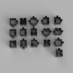 section of puzzle pieces.png Download STL file Cookie Cutter - Puzzle pieces collection • Design to 3D print, adisoday