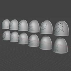 2020-09-17 11_01_03-Window.jpg Download free STL file Iron Warriors Legion shoulder pads with tactical markings • 3D print template, theadditivemanufacturer