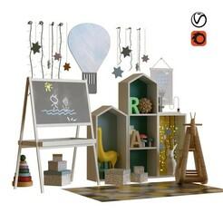 preview1.jpg Télécharger fichier STL set de décoration pour enfants 002 • Plan à imprimer en 3D, unisjamavari