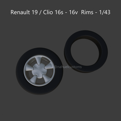 16swheels2.png Download STL file Renault 19 / Clio 16s - 16v Rims - 1/43 • 3D printing model, ditomaso147