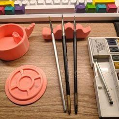127402856_3450393171852524_7437567969755359156_n.jpg Download STL file Dinosoar Brush Holder and Aquarella/ watercolor palette • 3D print model, ditomaso147