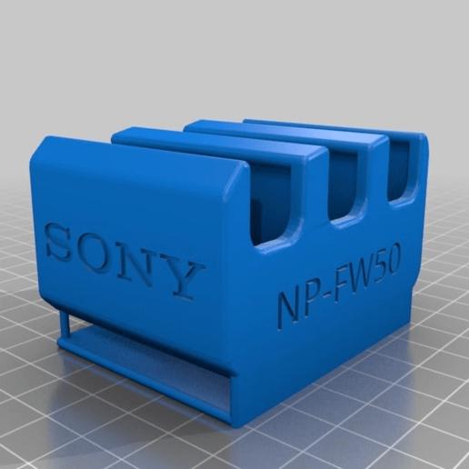 1c2a4b4b8a9499fae4f8edd21333969e.png Télécharger fichier STL gratuit Sony NP-FW50 3-Battery Holder avec guide de ceinture • Design pour impression 3D, KShapley