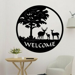 s.jpg Download STL file Deer Welcome Panel Decor • 3D print design, saracokan