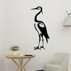 sample.jpg Download STL file White Egret Stork Wall Art • 3D print template, saracokan