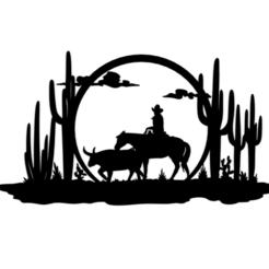 2.png Download STL file Cowboy Panel Art • 3D printing model, saracokan