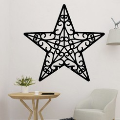 sample.jpg Download STL file Christmas Wall Decoration Star • 3D print model, saracokan