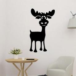 sample.jpg Download STL file Lovely Reindeer Wall Sculpture 2D • 3D printing model, saracokan