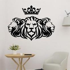 sample.jpg Download STL file Three Lions Wall Art • 3D printing template, saracokan