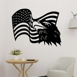 sample.jpg Download STL file Eagle Symbol of the USA Wall Art • 3D printing model, saracokan