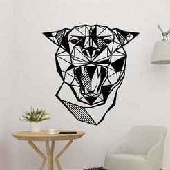 sample.jpg Download STL file Puma Head Sculpture Wall 2D • 3D printer design, saracokan