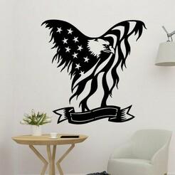 sample.jpg Télécharger fichier STL Décor mural 2D de l'Aigle d'Amérique • Design pour impression 3D, saracokan