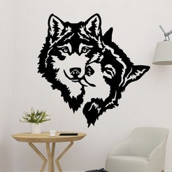sample.jpg Download STL file Wolf With Wolf Wall Decor • Design to 3D print, saracokan