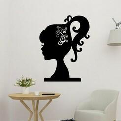 sample.jpg Download STL file Girl Silhouette 2D Decor • 3D printing design, saracokan
