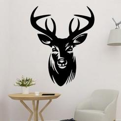 sample.jpg Download STL file Deer Head 2D Wall Art Decoration • Object to 3D print, saracokan