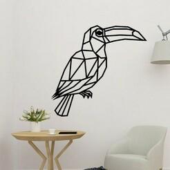 sample.jpg Télécharger fichier STL Décor polygonal 2D de l'oiseau Toucan • Plan à imprimer en 3D, saracokan