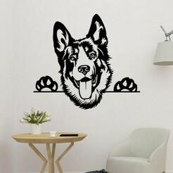 sample.jpg Download STL file German Dog 2D Wall Decoration • 3D printing model, saracokan