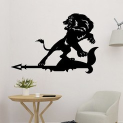 sample.jpg Download STL file Lion With Arrow 2D Decor • 3D printer object, saracokan