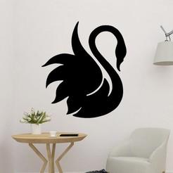 sample.jpg Download STL file Swan Wall Sculpture 2D Art • 3D printing object, saracokan