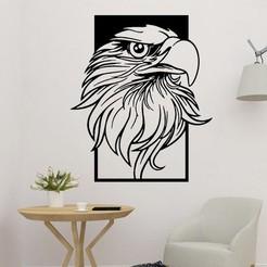 sample.jpg Download STL file Eagle Head Wall Sculpture 2D • 3D printer model, saracokan