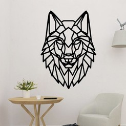 sample.jpg Download STL file Wolf Head Polygonal 2D Decor • 3D printer design, saracokan