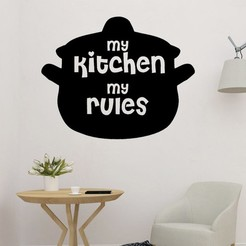 sample.jpg Download STL file My Kitchen My Rules Letters Decoration  • 3D printing template, saracokan
