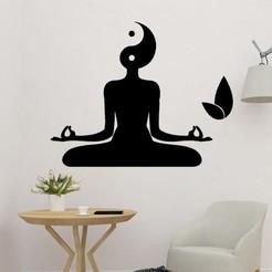 s.jpg Download STL file Yoga Meditation Wall Art 2D • Object to 3D print, saracokan