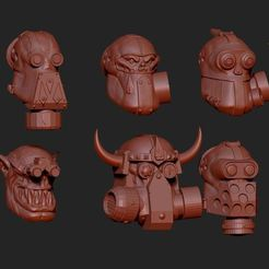 kheads.JPG Download STL file Orcish Gas Mask Heads Conversoin • 3D print template, toasty