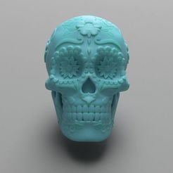 mexican-sugar-skull-3d-model-stl (6).jpg Download STL file Mexican Sugar Skull 3D print model • 3D printer template, joz9982