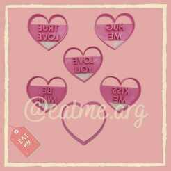 SAN VALENTIN - Set Frases.jpg Download STL file Valentine's Day Phrase Set • 3D printer model, eatmearg
