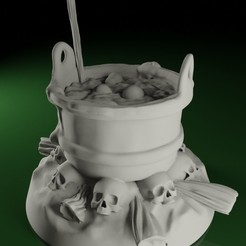 Cauldron01.jpg Download STL file SWAMPS OF MORDHELL - Cauldron (Witches Cauldron / Pot) • Template to 3D print, TeamSausageDesign