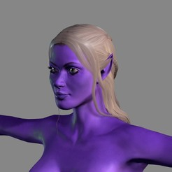 Download 3D printing files Animated Naked Elf Woman-Rigged 3d game character Low-poly 3D , igorkol1994