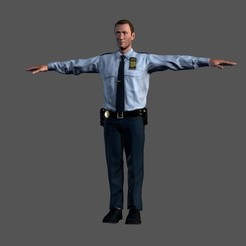 3.jpg Download STL file Animated Police Officer-Rigged 3d game character Low-poly 3D model • 3D printing object, igorkol1994