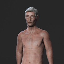 Download 3D printing designs Animated Naked Old Man-Rigged 3d game character Low-poly, igorkol1994