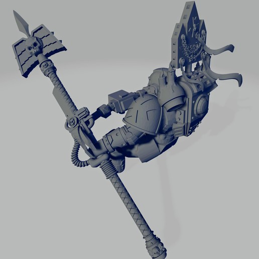 Dark Crusader Angry Priest of Death for Grav Bike - Long Weapon 02~2.jpg Download free STL file Dark Crusader Angry Priests of Death on Ride Out Bike • 3D printing object, GrimmTheMaker