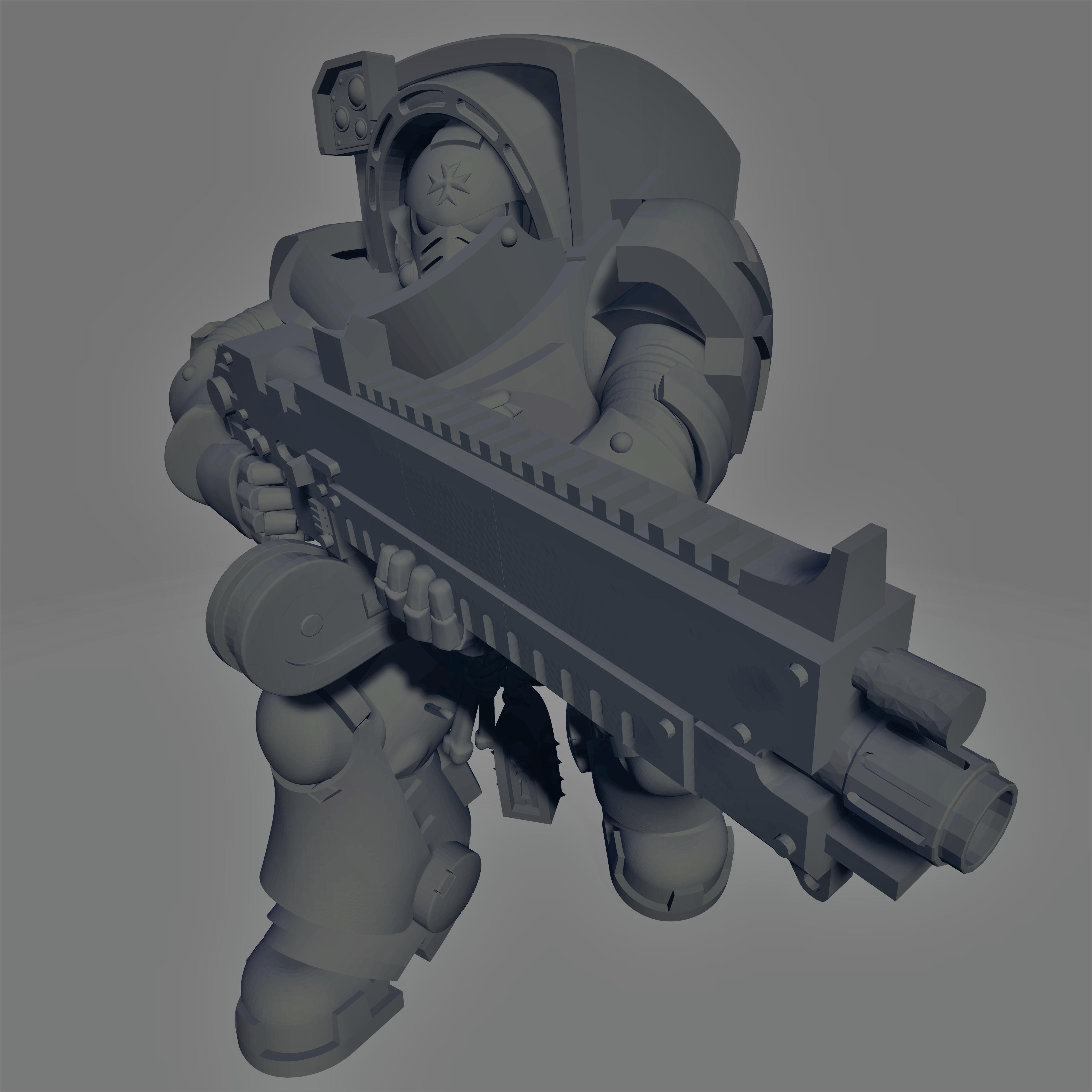 Dark Crusader - Heavy Infantry - Hellstorm Bolt Rifle - 02.jpg Download free STL file Dark Crusader Heavy Infantry Squad • 3D printer model, GrimmTheMaker