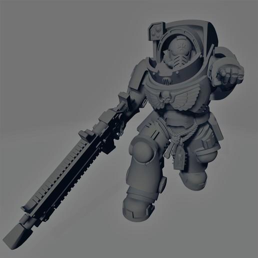 Dark Crusader - Heavy Infantry - Heavy Bolt Rifle - 01.jpg Download free STL file Dark Crusader Heavy Infantry Squad • 3D printer model, GrimmTheMaker