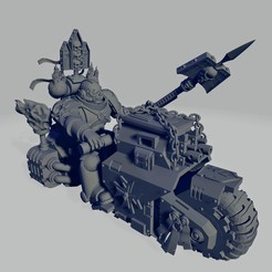 Dark Crusader Angry Priest of Death on Ride Out Bike - Long Weapon 02~2.jpg Download free STL file Dark Crusader Angry Priests of Death on Ride Out Bike • 3D printing object, GrimmTheMaker