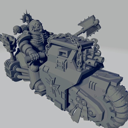 Dark Crusader Angry Priest of Death on Ride Out Bike - Short Weapon 02~2.jpg Download free STL file Dark Crusader Angry Priests of Death on Ride Out Bike • 3D printing object, GrimmTheMaker