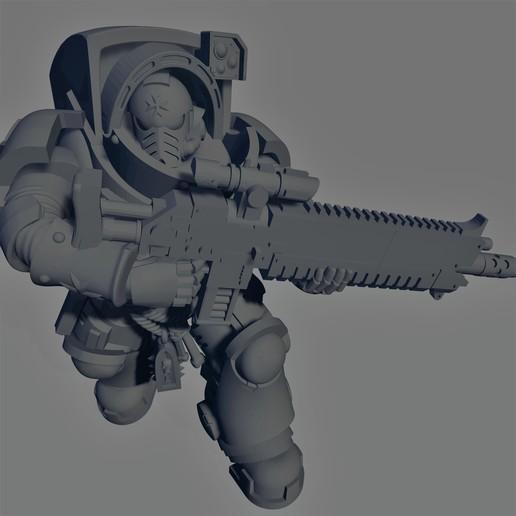 Dark Crusader - Heavy Infantry - Executor Bolt Rifle - 03.jpg Download free STL file Dark Crusader Heavy Infantry Squad • 3D printer model, GrimmTheMaker